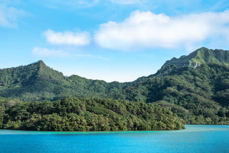 Beautiful mountain landscape with mount Turi on Huahine Island, French Polynesia.