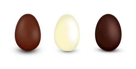 Three different flavors of chocolate Easter eggs isolated on white. Фото со стока
