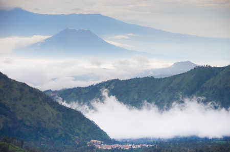Sunrise with mist in the valleys at Mount Bromo, East Java, Indonesia