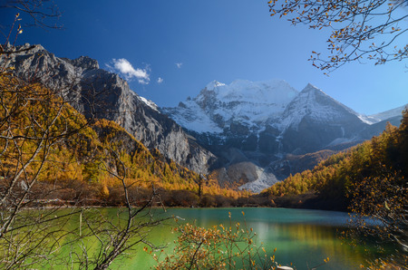 Colorful in autumn forest and snow mountain at Yading nature reserve, The last Shangri la, Daocheng-Yading, Sichuan, China. Stock Photo