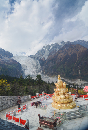 SichuanChina - October 20,2012 : Chinese tourists are strolling around Landscape of Glacier at Hailuogou National Glacier Forest Park,Sichuan, China