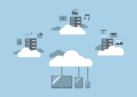 flat design, cloud computing concept, cloud sever, data storage service, big data and cloud technology.