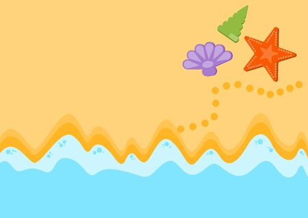 Summer sand and sea concept, top view