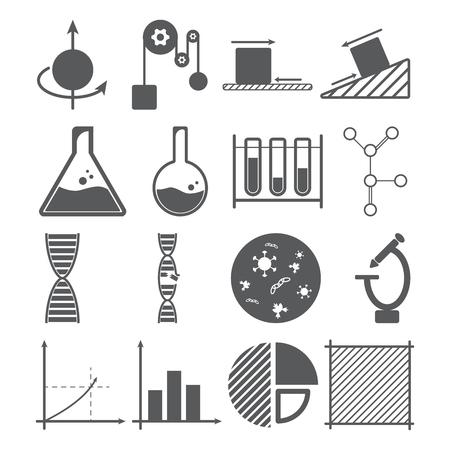 concetto di scienza icone, fisica, chimica, biologia, matematica, oggetto di massa, soluzione, DNA, grafico a barre, grafico a torta, quadrato