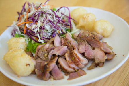 vietnamese food: Vietnamese food with pork and fried sticky rice