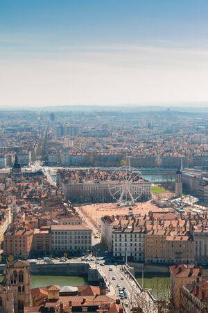 lyon: Top View of Lyon, France Stock Photo