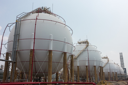 petrochemicals: Spherical tanks under cloudy weather