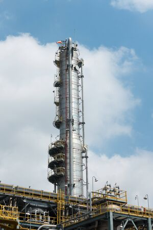 petrochemicals: Process Columns of Natural Gas Plant Stock Photo