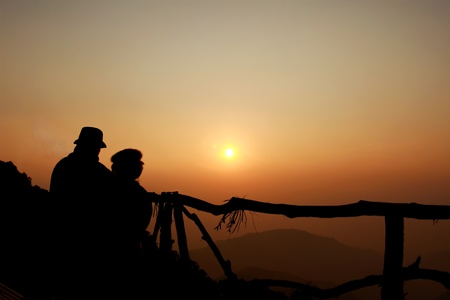 silhouette of couple love , Sunrise photo