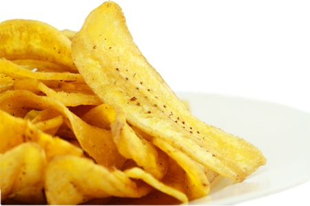 炒め薄切りバナナ ・ チップス、熱帯スナック 写真素材 - 12880474