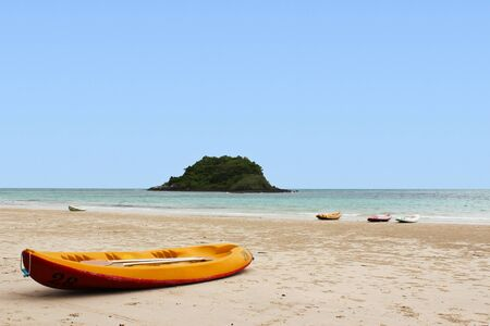 Kayaks on the tropical beach Stock Photo