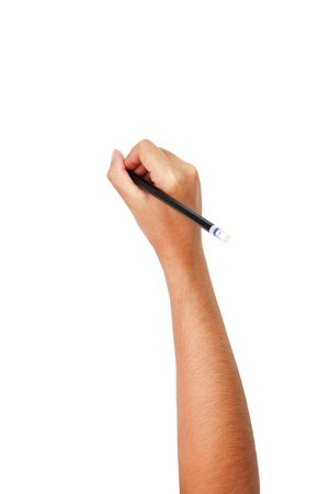 human hands with pencil and writting something photo