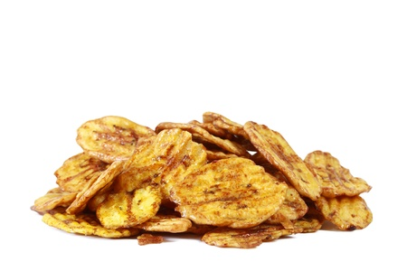 Fried thinly sliced banana chips, a tropical snack Stock Photo - 14974307
