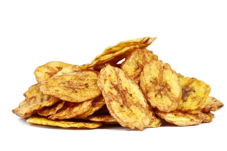 Fried thinly sliced banana chips, a tropical snack Stock Photo