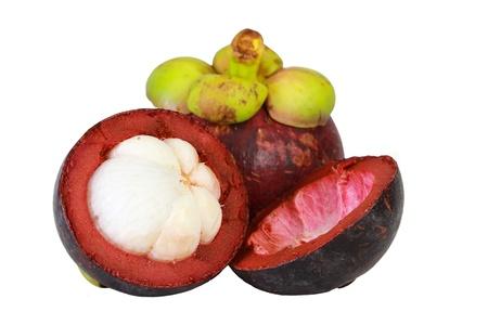 白い背景の上のアジアの熱帯マンゴスチン果物 写真素材