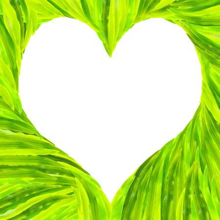 Grass heart-shaped frame in white background   photo