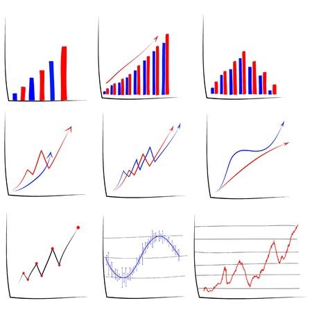 ビジネス グラフの手描きのスケッチのセットです。  イラスト・ベクター素材