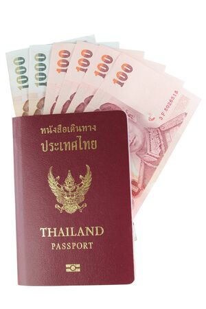 Thailand passport and Thai money photo
