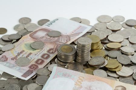 pennie: Thai coins baht on white background Stock Photo