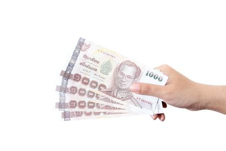 Thai money  in your hand. photo
