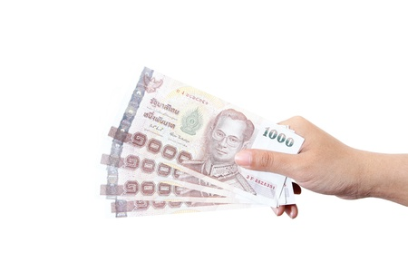 king of thailand: Thai money  in your hand. Stock Photo