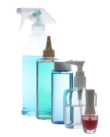 Set of  bottles of body care and beauty products photo