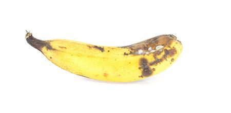 overly: Over ripe banana isolated on white background