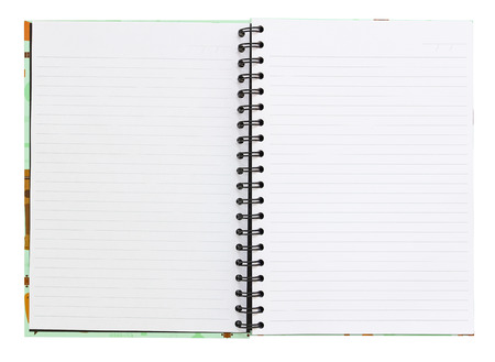 Open notebook with white lined pages. photo