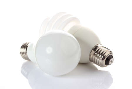fluorescent and LED bulbs on white background. photo