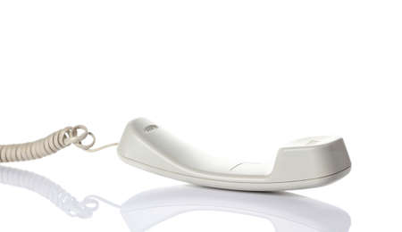 White telephone handsets. Isolated on a white background. photo