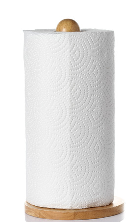roll of kitchen paper on white 写真素材