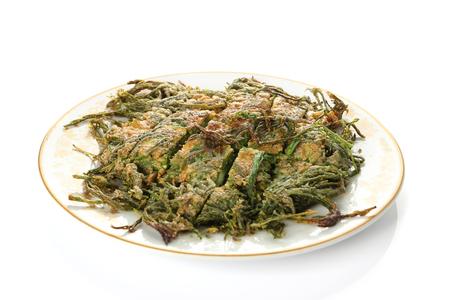 Fried Acacia Pennata with beaten egg (cha-om kai in Thai) photo