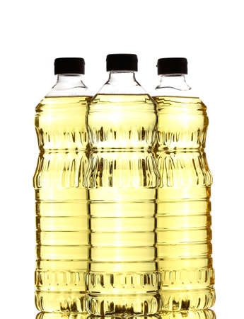 cooking oil: Bottles of vegetable oil for cooking isolated on white