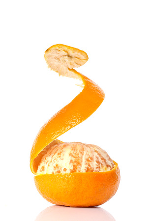 orange peel against on white background.