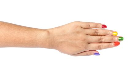 five fingers: Woman hand showing the five fingers isolated on a white