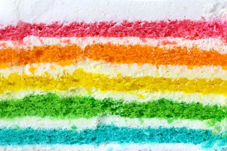무지개 케이크의 질감 층