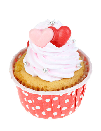 red velvet cupcake: Love cupcake isolate on white. Stock Photo