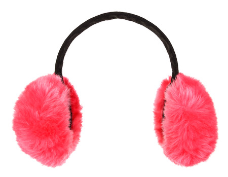 Pink winter earmuffs isolated on white background