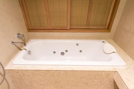 jacuzzi: Luxury jacuzzi bath tub in bathroom of apartment Stock Photo