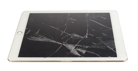 Tablet with broken screen isolate on white