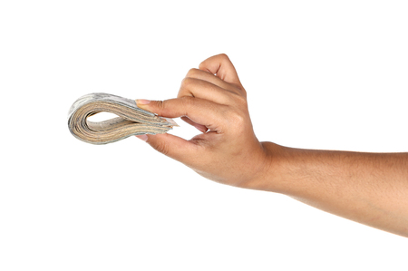 one hundred dollars: Woman hand holding dollar bill isolated on white background