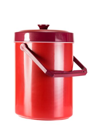 Handheld red refrigerator isolated on white Standard-Bild