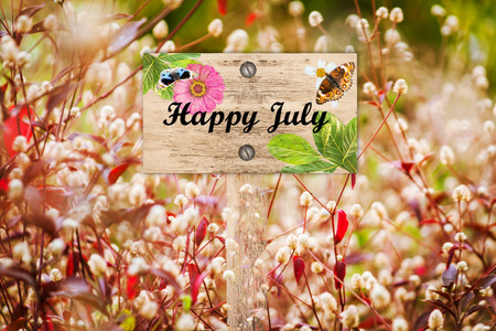 workday: Happy July signpost in beautiful and white flora  red grass in the garden Stock Photo