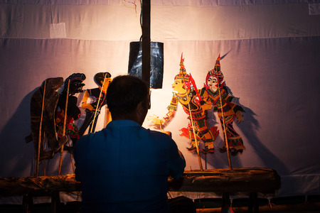 shadow show: Traditional south of Thailand Shadow Puppet Show,Nakhonsitammarat Stock Photo