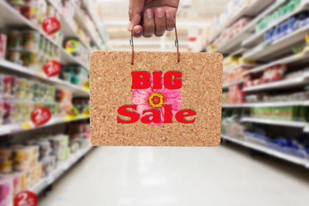 big cork: hand hold   brown cork board  information BIG SALE in the supermarket