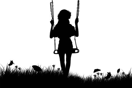 silhouettes of children: silhouette of cute girl play swing on sunset background