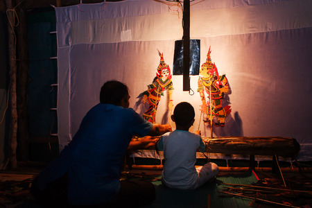 Traditional south of Thailand Shadow Puppet Show,Nakhonsitammarat Stock Photo