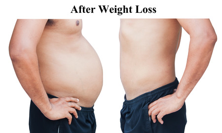 different of man body before and after,after weight loss