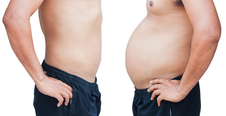 different of man body before and after  not exercise and dieting Stock Photo