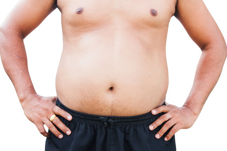 hands on stomach: body man fat belly